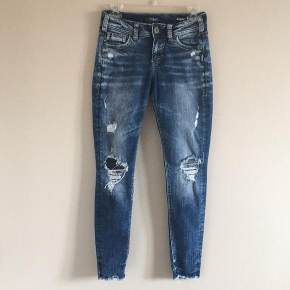 792982ef7fb Silver Jeans Jeans | Silver Suki Mid Skinny Denim Jean Distressed 26 ...